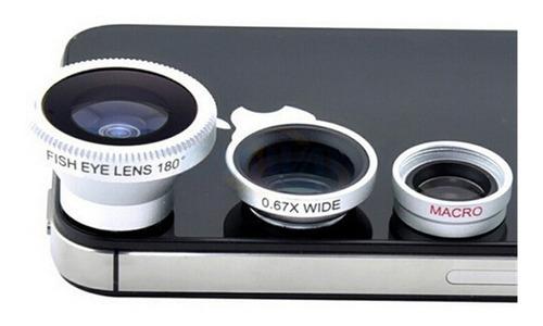 lente ojo de pez + gran angular (wide) + macro + todo en 1