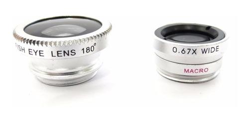 lente olho de peixe p/ telefone universal combo 3 em 1 prata
