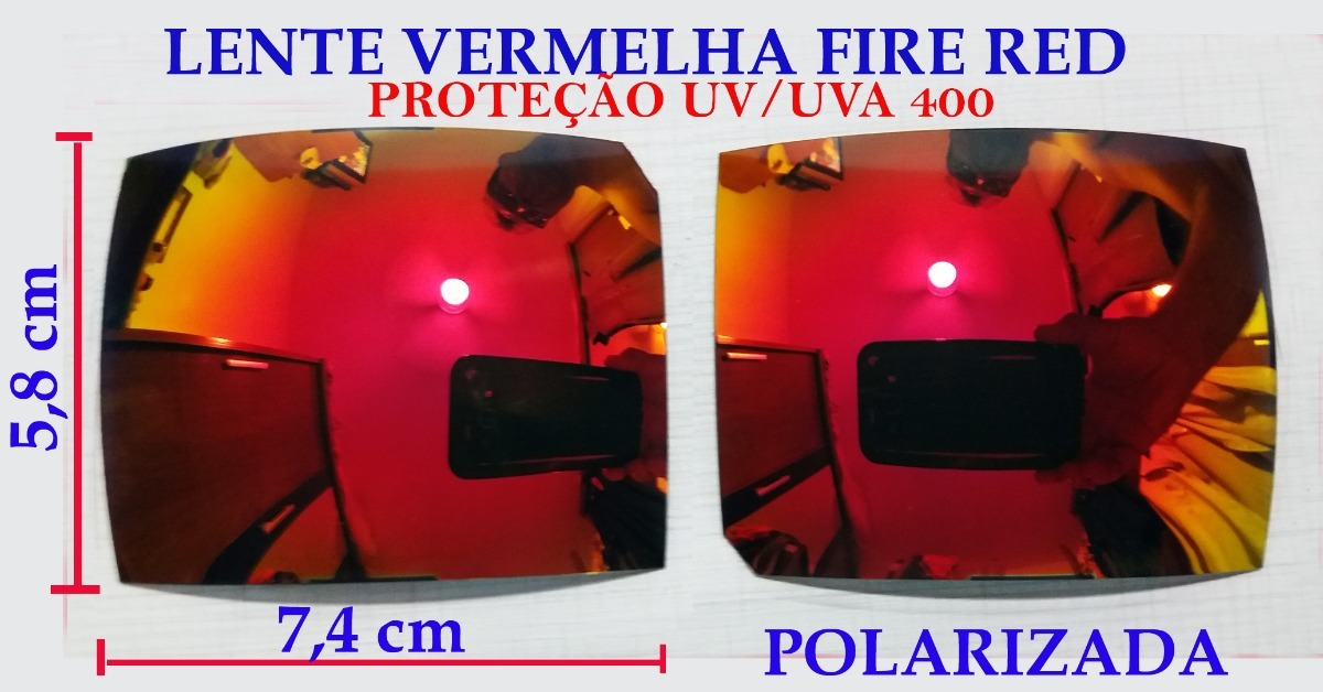 lente para oculos solar para recorte vermelha fire espelhada. Carregando  zoom. bd34023e96