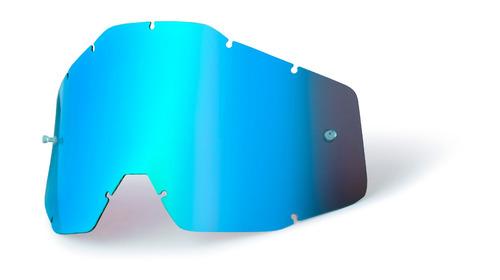 lente p/gafas 100% racecraft/accuri repuesto azul espejado