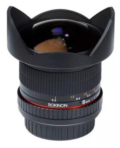 lente  rokinon nikon 8mm f/3.5 hd fisheye para-sol removivel