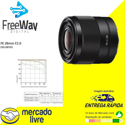 lente sony fe 28mm f/2 - sel28f20 + nota fiscal