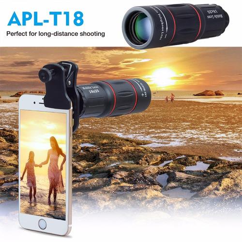 lente telefoto apexel 18x ajustable para celular o tabletas
