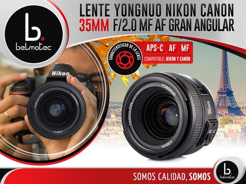lente yongnuo 35mm f/2.0 mf af canon nikon gran angular