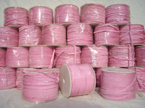 lentejuelas rosadas. rollo de 73 mtrs. no se realizan envíos