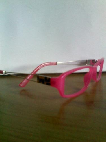 lente,montura para corrección dama de pasta y metal rosada