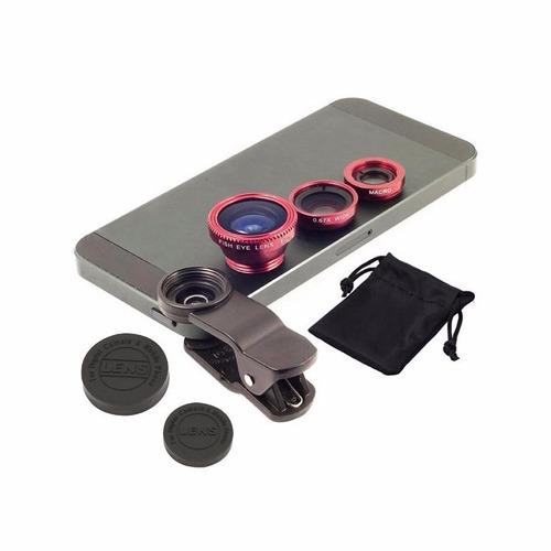 lentes 3 en 1 para camara de celular iphone samsung sony htc