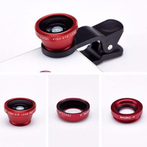 lentes 4 en 1 para celular clip macro telefoto gran angular