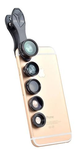 lentes 5 en 1 p/ celular macro ojo pez gran angular iphone