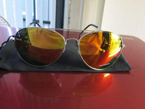 lentes aviador moda tornasol aviador armazon y mica dorada