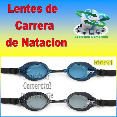 lentes de carrera intex natacion buceo + estuche 55691