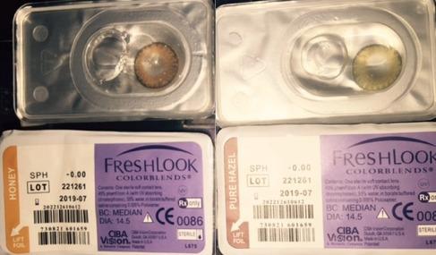lentes de contacto freshlook + 60 ml líquido + estuche