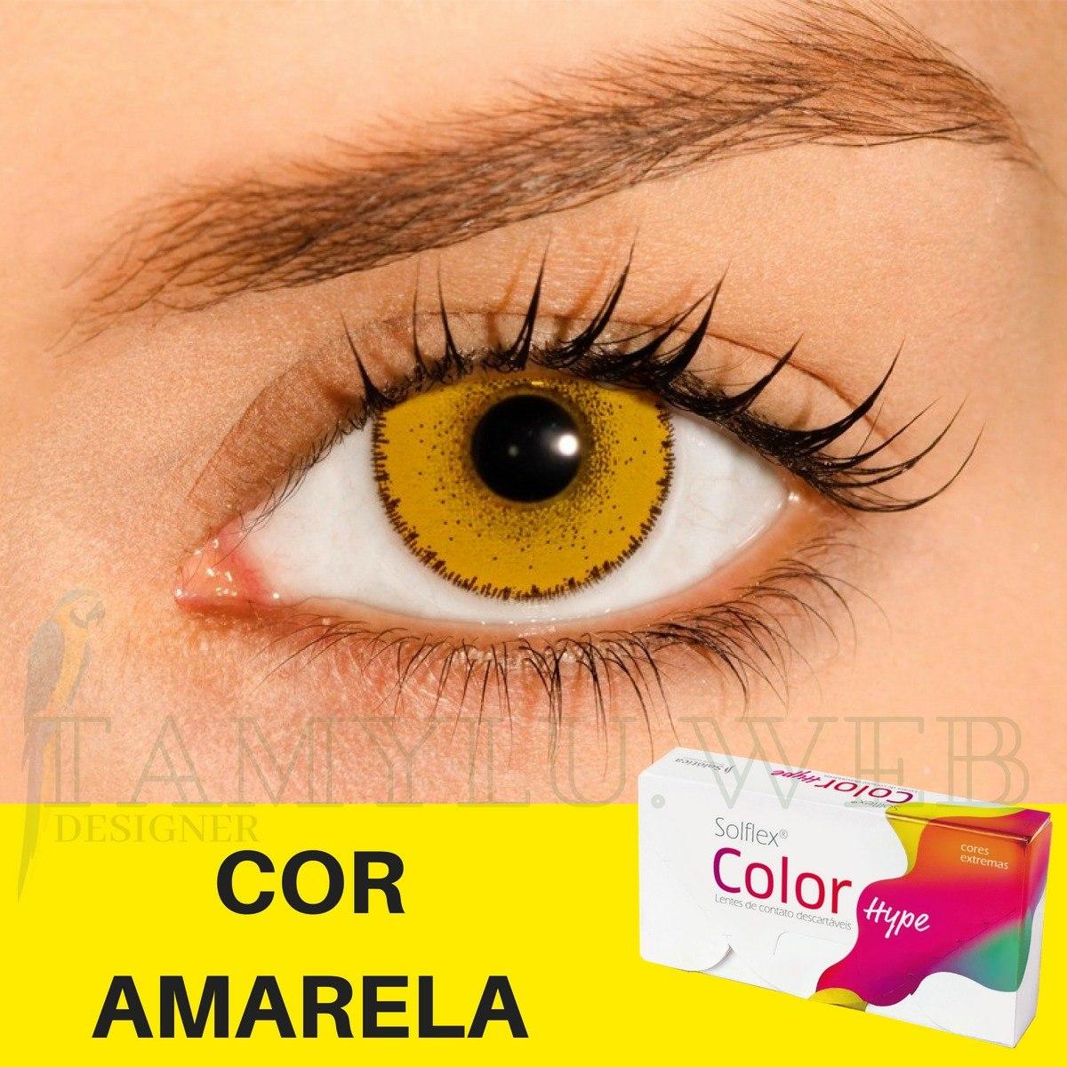 7266e9de88166 lentes de contato amarela solflex color hype solução+estojo. Carregando  zoom.