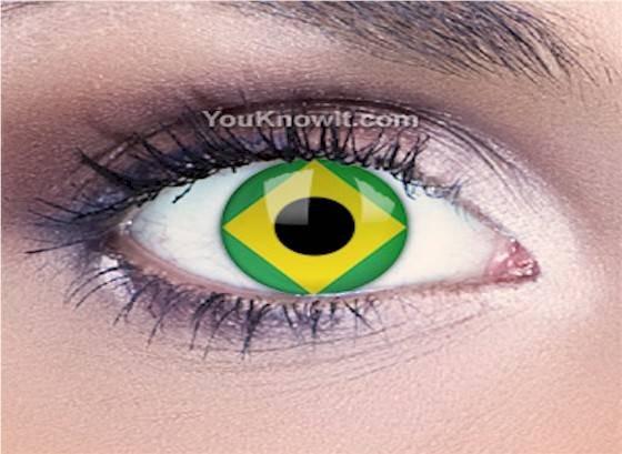 fd66708ace33d Lentes De Contato Bandeira Brasil Pronta Entrega - R  55