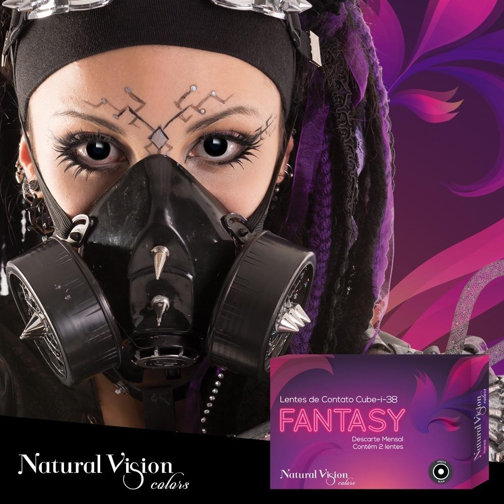 Lentes De Contato Fantasy Preta Halloween   Cosplay - R  64,99 em ... a494fa5899