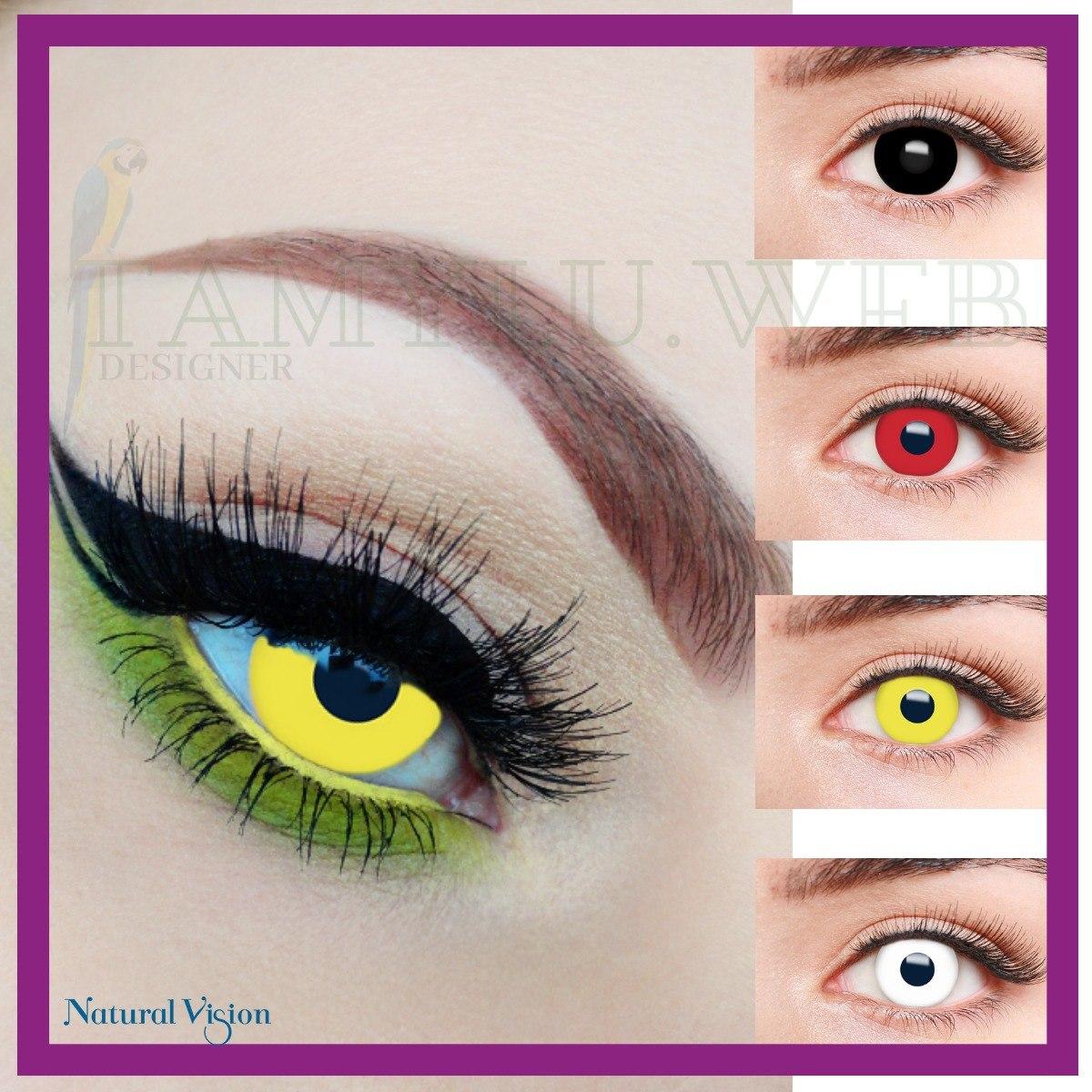 lentes de contato vermelha amarela branca preta fantasy. Carregando zoom. f2664c721e
