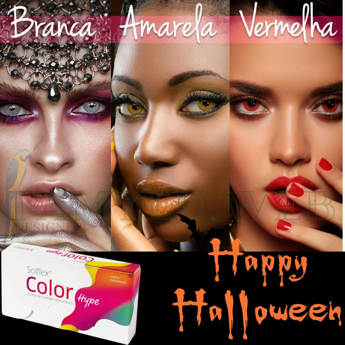 lentes de contato vermelha solflex color hype halloween. Carregando zoom. 533d9b815c