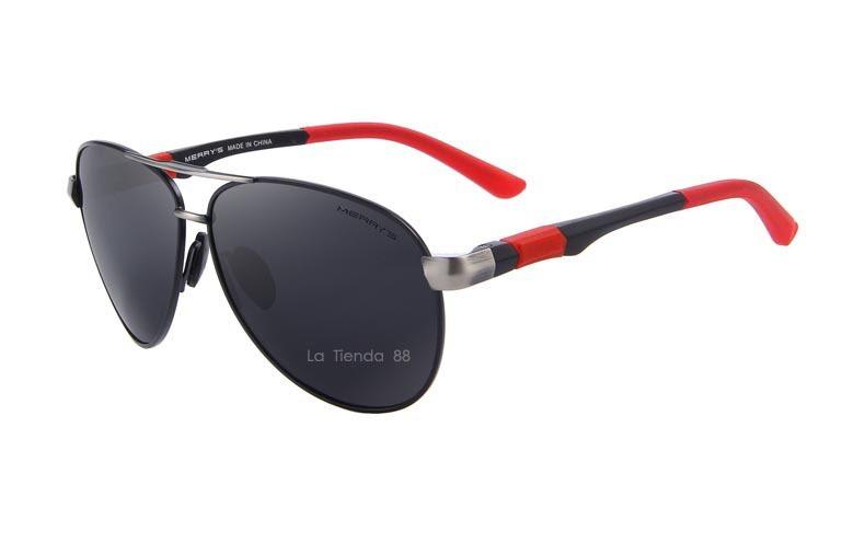 34ac164534 Lentes De Sol Aviator Hombre Polarizado Negro/rojo Deportivo - S ...