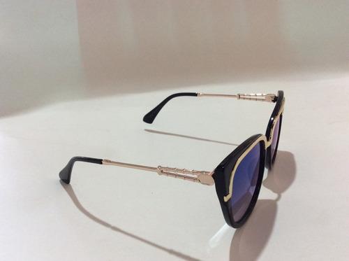 lentes de sol azul cat eye mujer tornasol estuche+microfibra