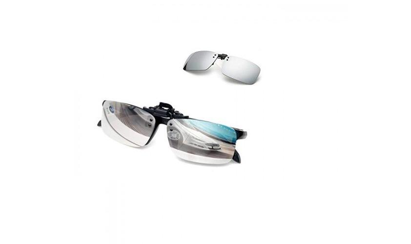 f9701b282e834 Lentes De Sol Clip On P  Óculos Grau Uv400 Polarizado Prata - R  39 ...