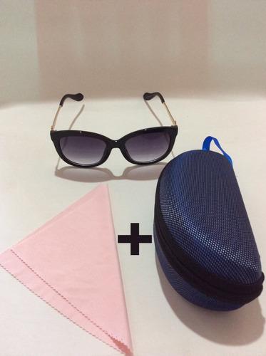 lentes de sol dama cat eye negro incluye estuchey microfibra