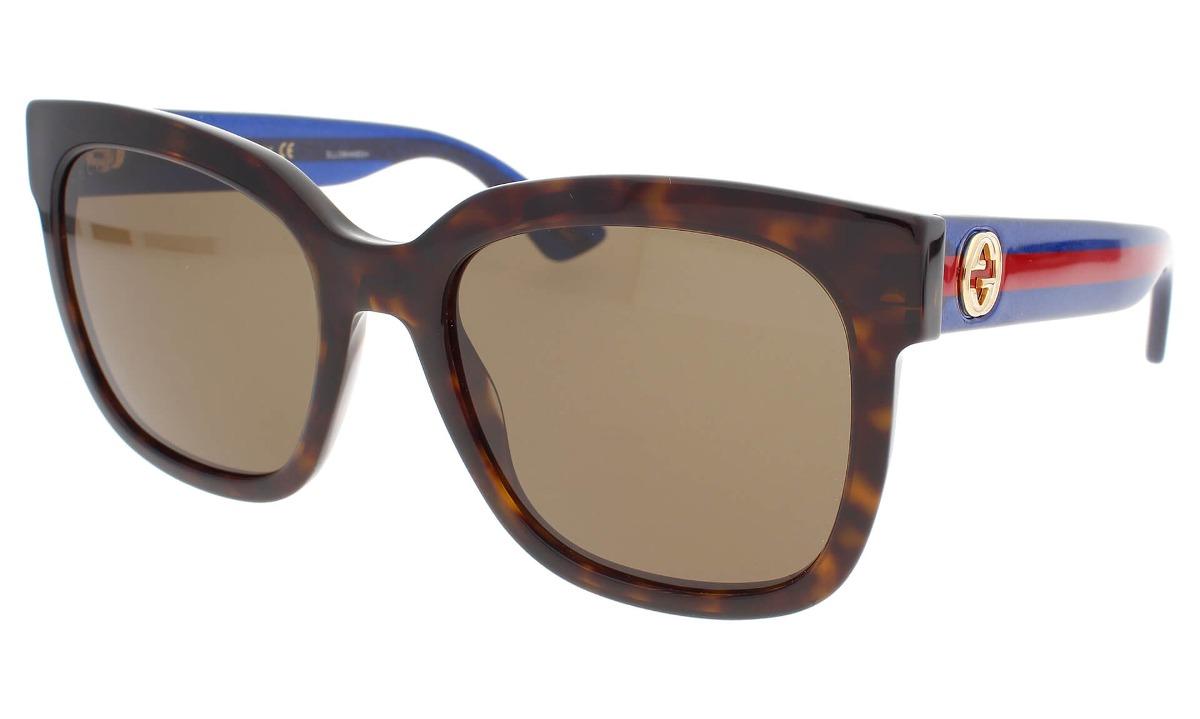 fea6384d453 Lentes De Sol Gucci Gg0034s 004 Café Tortuga azul Original ...