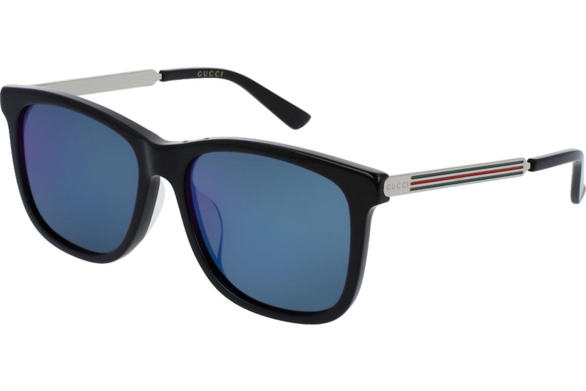 eceb81e2970 Lentes De Sol Gucci Gg0078sk 001 Azul Negro plata Original ...