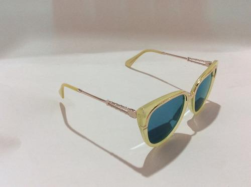 lentes de sol mujer cat eye tipo dios verde -amarillo moda