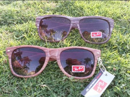 gafas ray ban con montura de madera