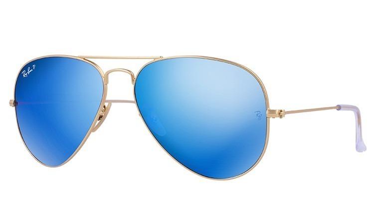 e5fd668838 Lentes De Sol Ray Ban Aviator, Rb3025 112/4l-azul Polarizado ...