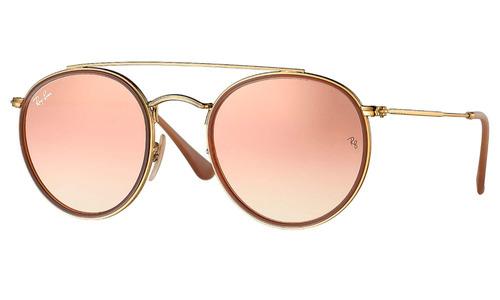 lentes de sol ray ban double round 3647 rosa espejado