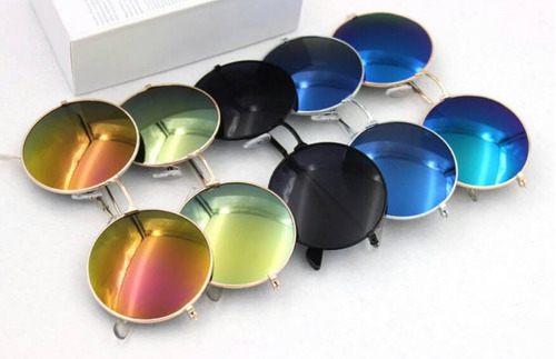 lentes de sol redondos unisex retro nuevos rojo azul verde a