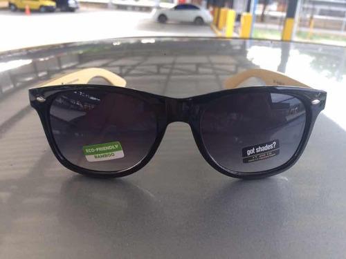 lentes de sol unisex, bamboo- cristal negro degradado
