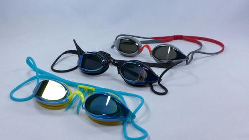lentes espejados para natación antifog protección uv + funda