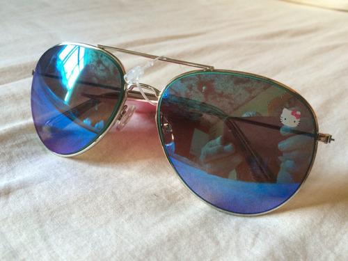 lentes espejo celeste hello kitty  mujeres modelo aviador