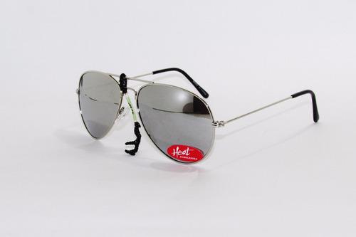 lentes gafas anteojo sol espejado plateado  heat aviador