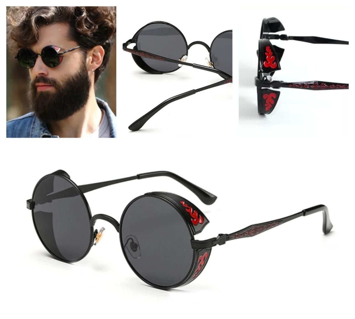 402f3ca087 lentes gafas de sol redondos retro steampunk con laterales. Cargando zoom.