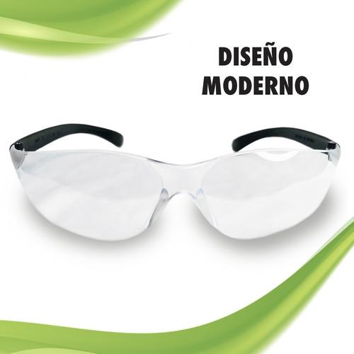 lentes goggles de seguridad mica transparente con negro