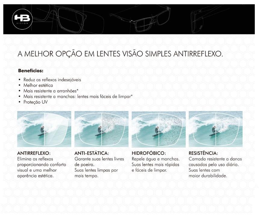 Lentes Hb Antireflexo Visão Simples - R  150,00 em Mercado Livre 9277d73029