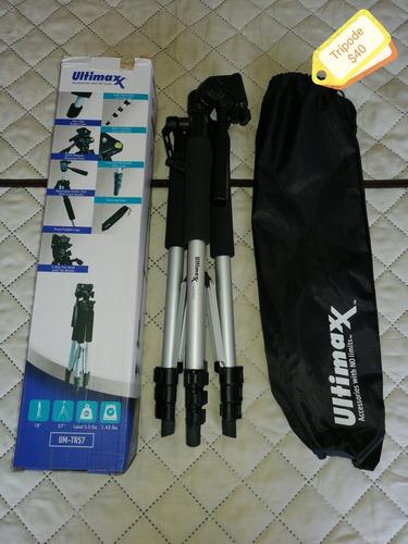 lentes, matela, trípode, parasol para cámara