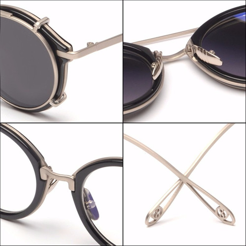 lentes oftalmicos armazon hipster con sobrepuesto de sol