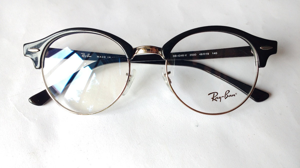 c08e4c5a01 Lentes Ópticos Ray Ban Rb4246-v Club Round Black Italy 49mm ...