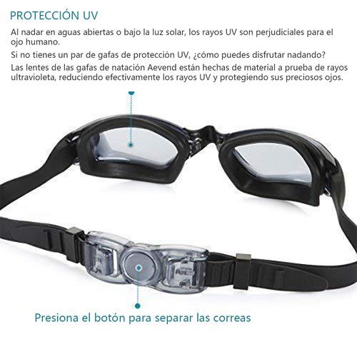 lentes para natación con estuche, goggles aqua sphere, negro