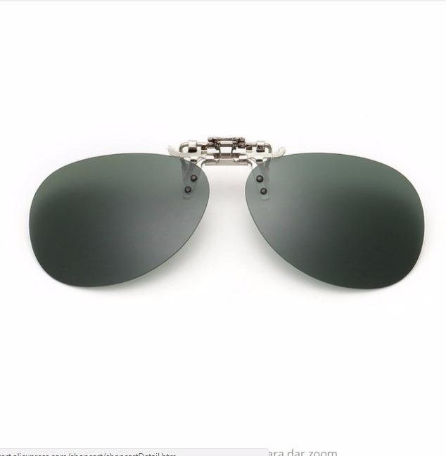 751cb4f8707ad Lentes Para Óculos Clip On Estilo Aviador Verde Polarizado - R  69 ...