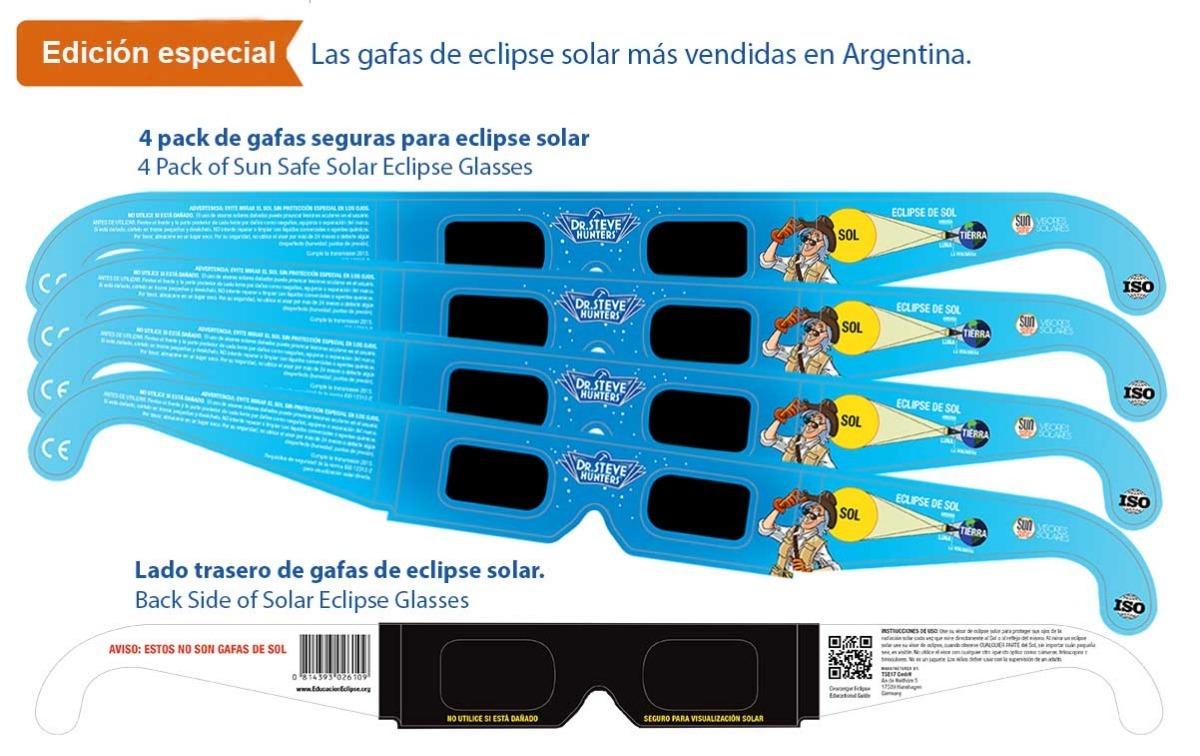 c257c86aff Lentes Para Ver El Eclipse Solar - 4 Pack (especial) #s4 - $ 1.699 ...