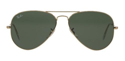 lentes ray-ban 0rb3025 aviator metal dorado verde