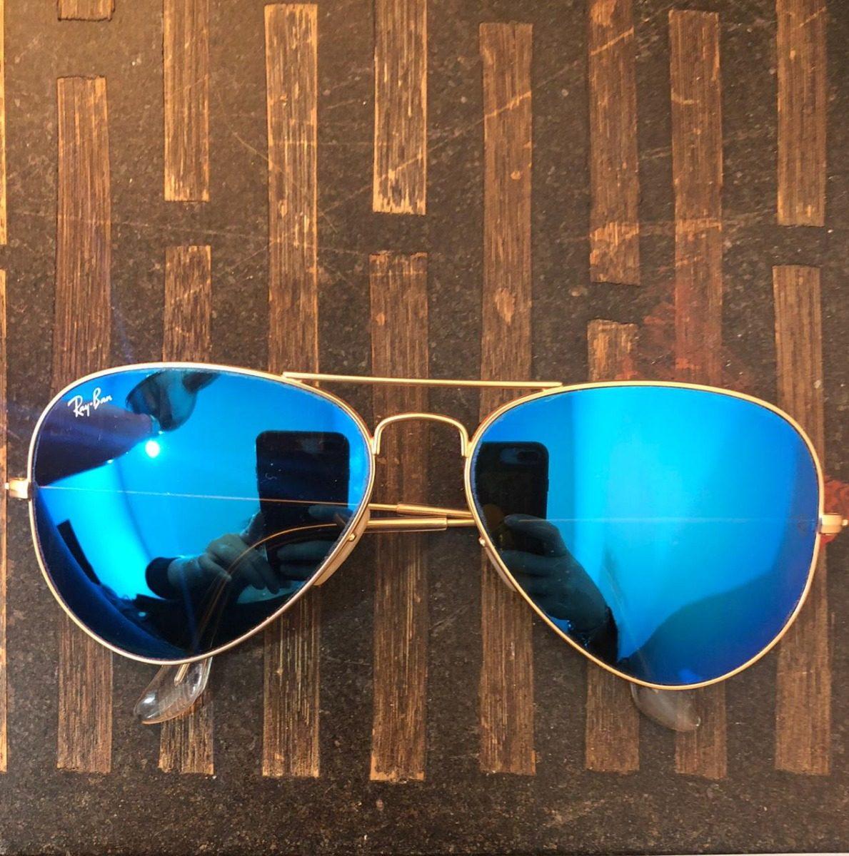 5646cd8217 Lentes Ray Ban Aviador Azul Espejo - $ 1,800.00 en Mercado Libre