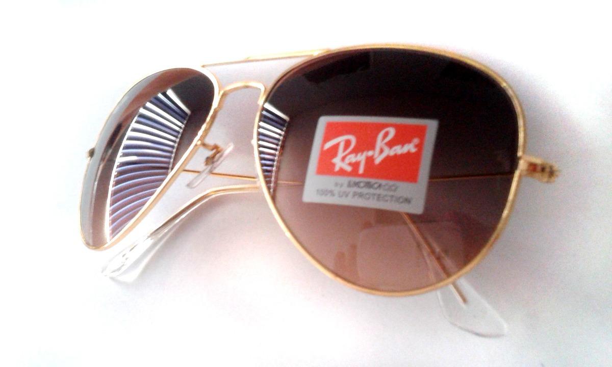 Lentes Ray Ban Aviator Cafe Y Oro Italianos Promocion - $ 1,459.00 ...