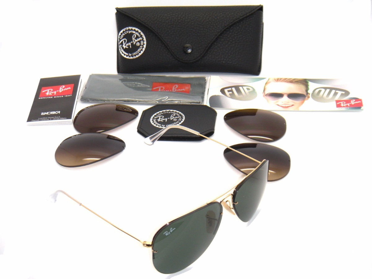 Lentes Ray Ban Aviator Flip Out Rb3460 001 71. Envio Gratis ... 2858aed77e