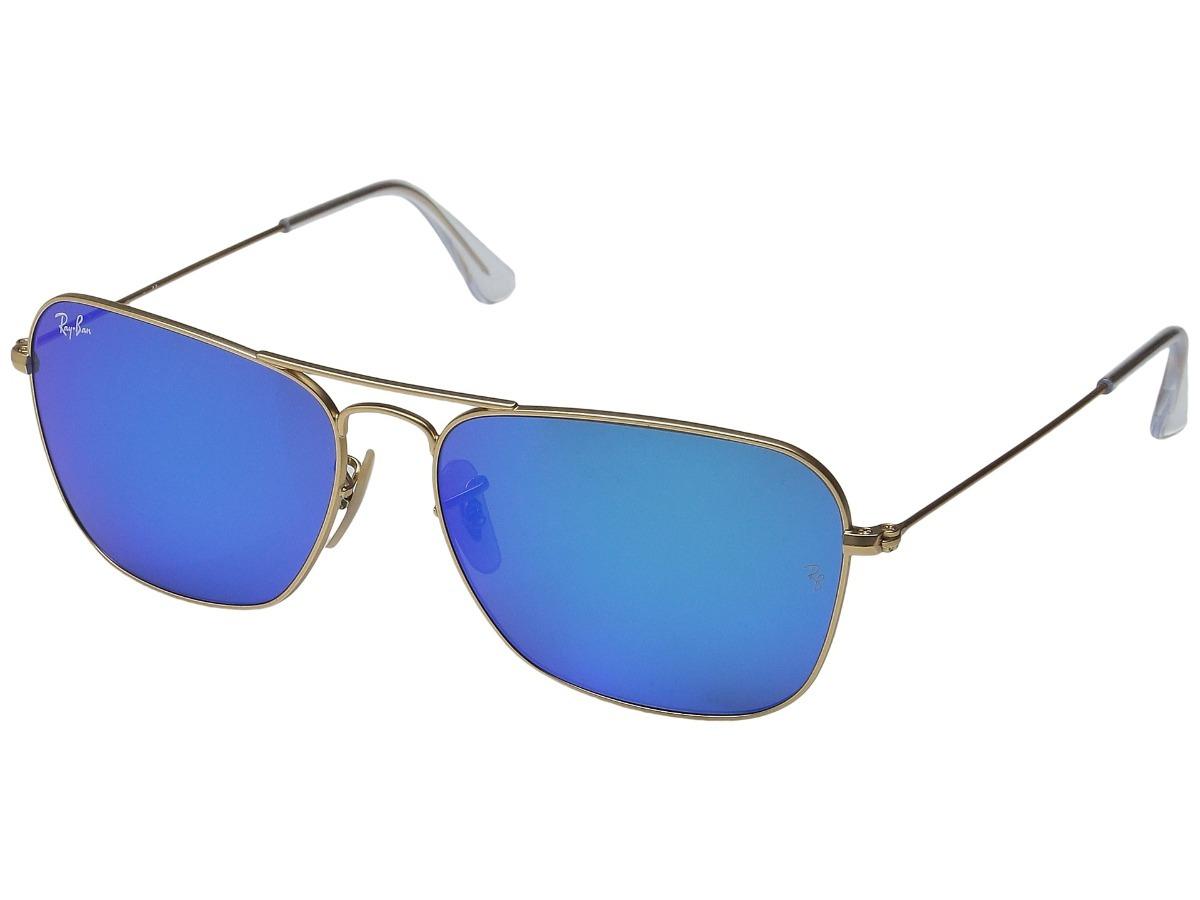 1f968687af174 lentes ray ban caravan rb3136 112 17 58mm azul flash dorado. Cargando zoom.